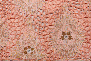 Hand Embroidered George Wrapper Design # 9678 - Peach - With Blouse