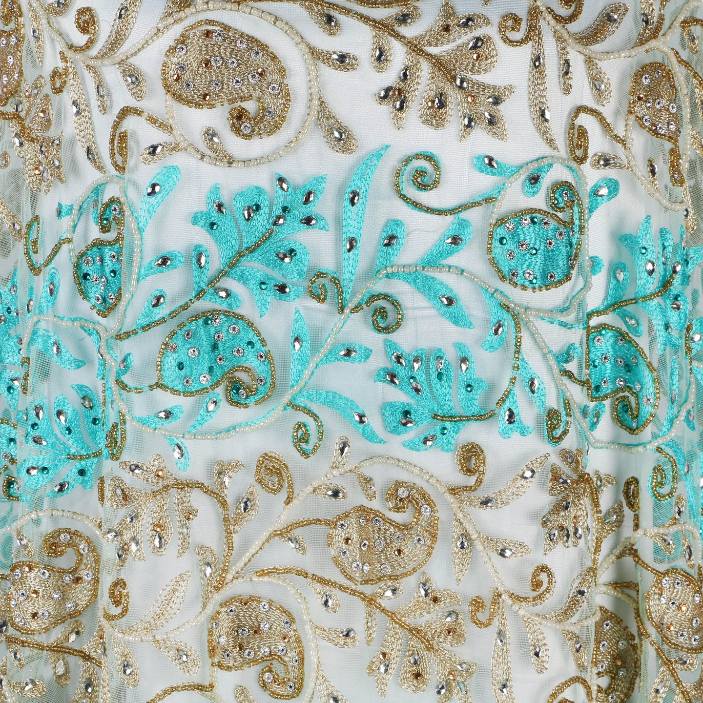 Hand Embroidered Fabric Design # 4090 - Sky Blue- Per Yard