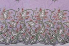 Load image into Gallery viewer, Hand Embroidered Blouse Design # 3248 - Purple - 1.7 Yards