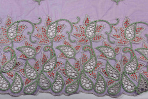 Hand Embroidered Blouse Design # 3248 - Purple - 1.7 Yards