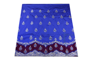 Machine Embroidered George Wrapper Design # 7071 - Royal Blue - Without Blouse