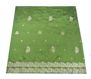 Machine Embroidered George Wrapper Design # 7061 - Nigeria Green - Without Blouse