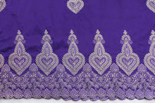 Load image into Gallery viewer, Machine Embroidered George Wrapper Design # 7398 - Purple - With Blouse