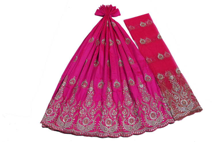 Hand Stoned George Wrapper Design # 6545 - Fuchsia Pink - With Blouse
