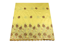 Load image into Gallery viewer, Machine Embroidered George Wrapper Design # 7449 - Yellow - With Blouse