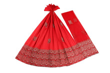 Load image into Gallery viewer, Machine Embroidered George Wrapper Design # 7451 - Red - With Blouse