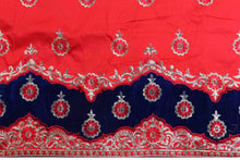 Load image into Gallery viewer, Machine Embroidered George Wrapper Design # 7071 - Red - Without Blouse