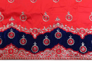 Machine Embroidered George Wrapper Design # 7071 - Red - Without Blouse
