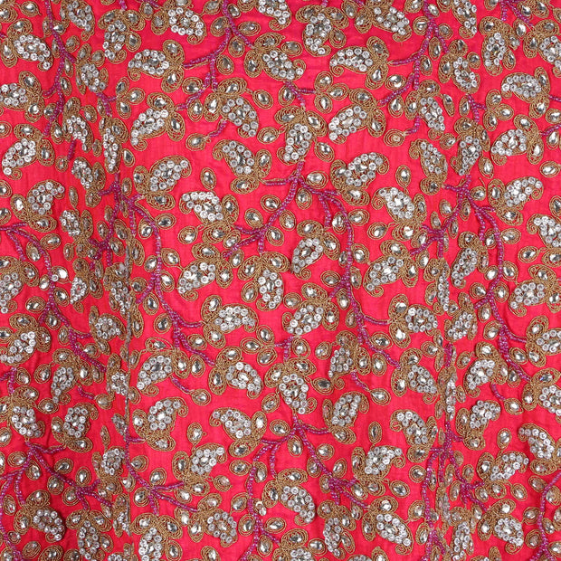 Hand Embroidered Fabric Design # 4171 - Fuchsia Pink - 5 Yard Piece