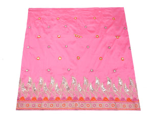 Machine Embroidered George Wrapper Design # 7062 - Baby Pink - Without Blouse