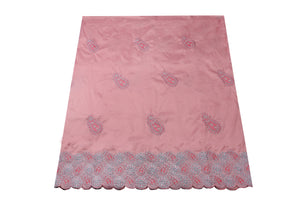 Machine Embroidered George Wrapper Design # 7407 - Peach - With Blouse