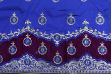 Load image into Gallery viewer, Machine Embroidered George Wrapper Design # 7071 - Royal Blue - Without Blouse