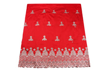 Load image into Gallery viewer, Machine Embroidered George Wrapper Design # 7410 - Red - With Blouse