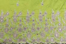 Load image into Gallery viewer, Hand Stoned George Wrapper Design # 6668 - Lime Green - With Blouse