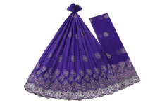 Load image into Gallery viewer, Machine Embroidered George Wrapper Design # 7402 - Purple - With Blouse