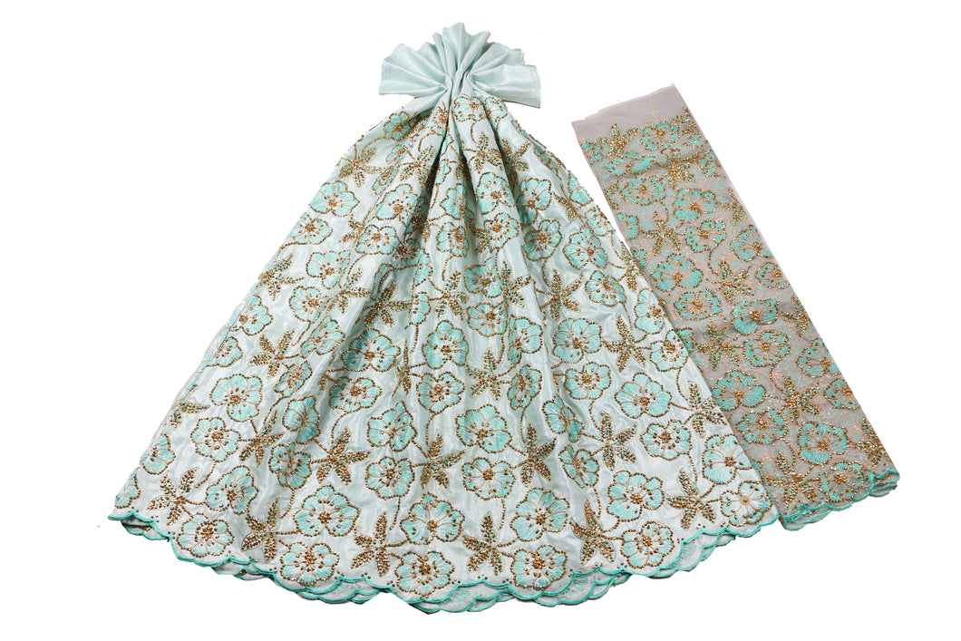 Hand Stoned George Wrapper Design # 6729 - Sky Blue - With Blouse