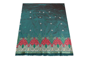 Machine Embroidered George Wrapper Design # 7069 - Teal Green  - With Blouse