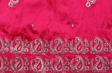 Load image into Gallery viewer, Machine Embroidered George Wrapper Design # 7349 - Fuchsia Pink  - With Blouse