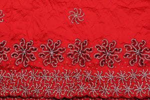Hand Stoned George Wrapper Design # 6704 - Red - With Blouse