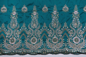 Hand Stoned George Wrapper Design # 6545 - Teal Green - With Blouse