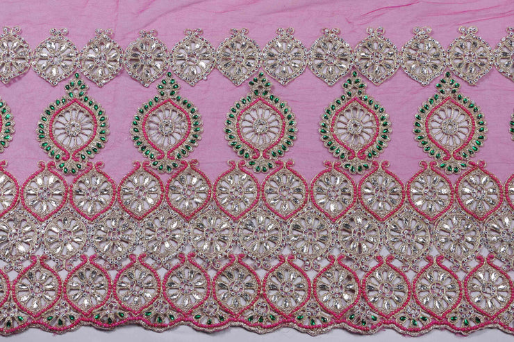Hand Embroidered Blouse Design # 3192 - Fuchsia Pink - 1.7 Yards