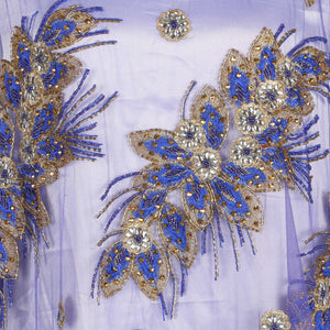 Hand Embroidered Fabric Design # 4154 - Royal Blue - 5 Yard Piece