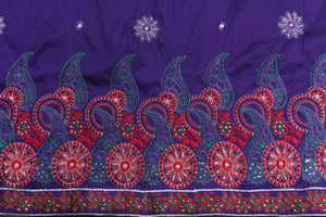 Machine Embroidered George Wrapper Design # 7079 - Purple - Without Blouse