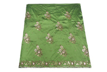 Load image into Gallery viewer, Machine Embroidered George Wrapper Design # 7057 - Olive Green - Without Blouse