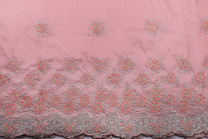 Machine Embroidered George Wrapper Design # 7402 - Peach - With Blouse