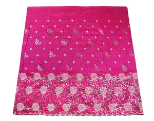 Machine Embroidered George Wrapper Design # 7082 - Fuchsia Pink - Without Blouse