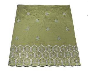 Machine Embroidered George Wrapper Design # 7064 - Olive Green - Without Blouse
