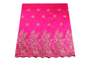 Hand Stoned George Wrapper Design # 6615 - Fuchsia Pink - With Blouse