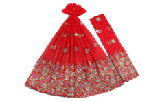 Load image into Gallery viewer, Hand Embroidered George Wrapper Design # 9509 - Red - With Blouse