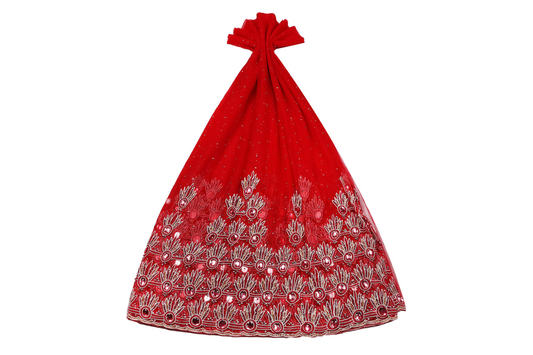 Hand Embroidered George Net Wrapper Design Design # 9723 - Red - With Blouse