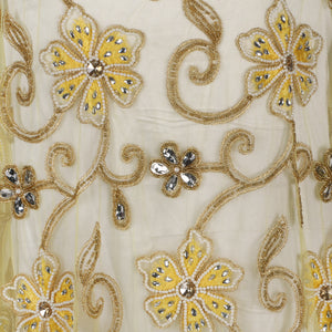 Hand Embroidered Fabric Design # 4101 - Yellow - Per Yard