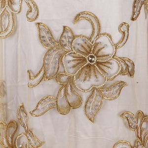 Hand Embroidered Fabric Design # 4115 - Champagne Gold - 5 Yard Piece