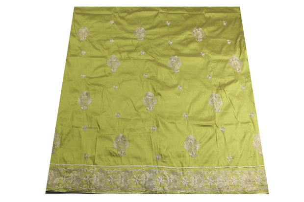 Machine Embroidered George Wrapper Design # 7038 - Lime Green - Without Blouse