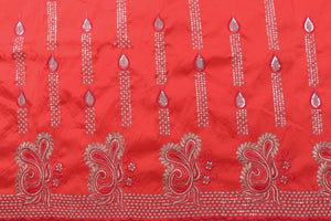 Machine Embroidered George Wrapper Design # 7093 - Red - Without Blouse