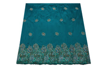Load image into Gallery viewer, Hand Stoned George Wrapper Design # 6588 - Teal Green - With Blouse
