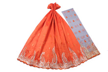 Load image into Gallery viewer, Machine Embroidered George Wrapper Design # 7089 - Burnt Orange   - With Blouse