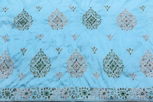 Load image into Gallery viewer, Hand Embroidered George Wrapper Design # 9668 - Sky Blue - With Contrast Blouse