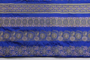 Machine Embroidered George Wrapper Design # 7412 - Royal Blue - With Contrast Blouse