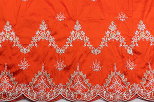 Machine Embroidered George Wrapper Design # 7435 - Burnt Orange - With Blouse