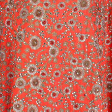 Load image into Gallery viewer, Hand Embroidered Fabric Design # 4169 - Burnt Orange - 5 Yard Piece