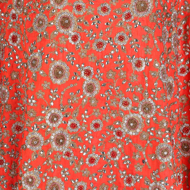Hand Embroidered Fabric Design # 4169 - Burnt Orange - 5 Yard Piece