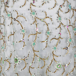 Hand Embroidered Fabric Design # 4153 - Aqua Green - Per Yard