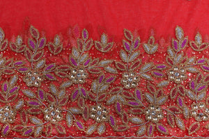 Hand Embroidered George Wrapper Design # 9509 - Red - With Blouse