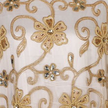 Load image into Gallery viewer, Hand Embroidered Fabric Design # 4187 - Champagne Gold - 5 Yard Piece