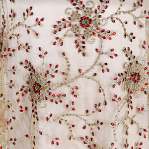 Hand Embroidered Fabric Design # 4072- Champagne Gold - Per Yard