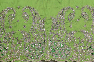Hand Stoned George Wrapper Design # 6714 - Lime Green - With Blouse